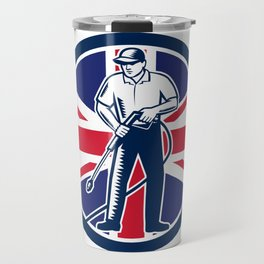 British Pressure Washing Union Jack Flag Circle Retro Travel Mug