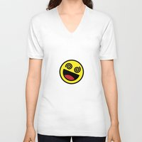 emoji V-neck T-shirts featuring Drunk Emoji by Birds & Kings