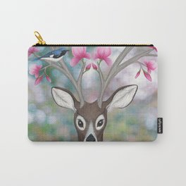 white tailed deer, black throated blue warblers, & magnolia blossoms Carry-All Pouch
