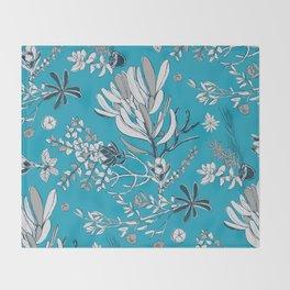 Cool Blue Cradle Flora Throw Blanket