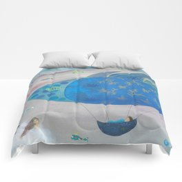 Flying Fish in Sea of Clouds with Sleeping Child Comforters