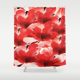 Red Poppies - Painterly Shower Curtain