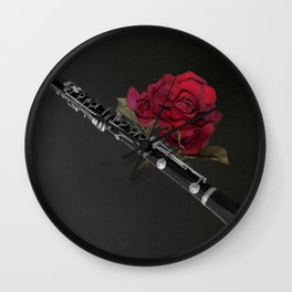 Black White Clarinet Red Rose Musical Instrument Wall Art A506 Wall Clock