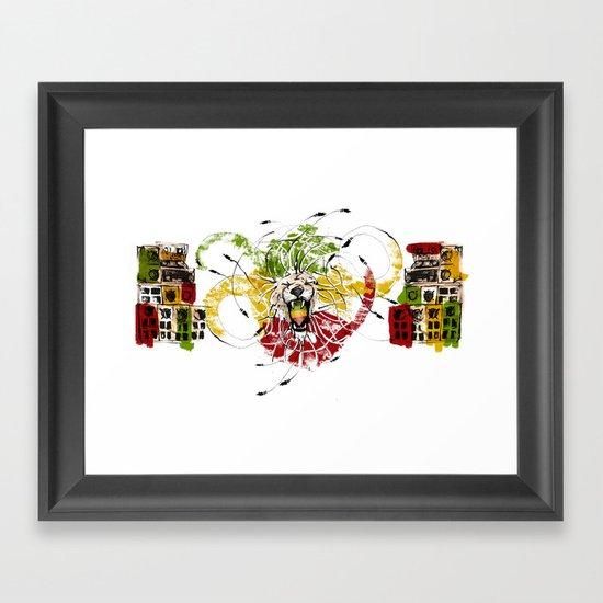 Reggae Lion Speakers Framed Art Print