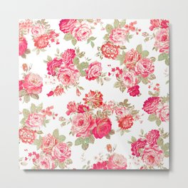Elise shabby chic on white Metal Print