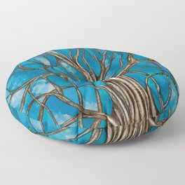 Mystic Tree of Life Mosaic Blue Watercolor Floor Pillow