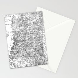 Vintage Map of Mississippi (1853) BW Stationery Cards