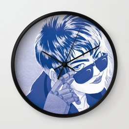 Metalic digits Blue Wall Clock