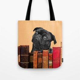 Old Books and Black Pug dog behind Tote Bag