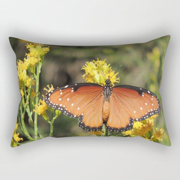Queen Butterfly on Rubber Rabbitbrush in Claremont CA Rectangular Pillow