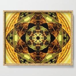 autumn yellow gold green brown black mandala art Serving Tray