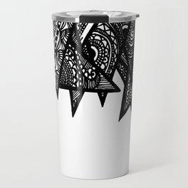 Triangle Henna Print- B+W Travel Mug