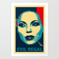 evil queen Art Prints featuring Evil Queen by Pop Atelier