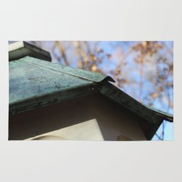 Old wooden birdhouse detail with patina copper roof Rug