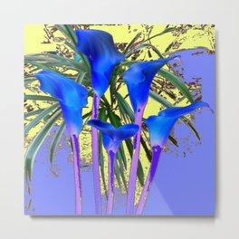 MODERN BLUE CALLA LILIES YELLOW GARDEN Metal Print