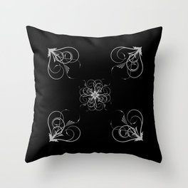 Silver Embossed Corners Throw Pillow