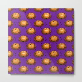 Pumpkins in a Purple Patch Metal Print