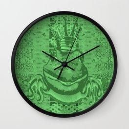Mossy Deep Green King Frog Smile Wall Clock