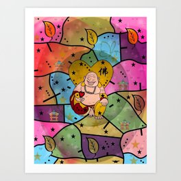 Buddah Popart by Nico Bielow Art Print