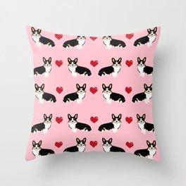 Corgi tri colored welsh corgi dog person corgis love valentines day gifts for dog person Throw Pillow