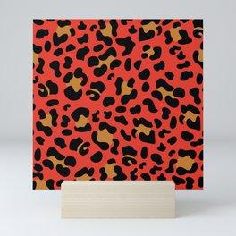 Leopard Print - Bright Red Mini Art Print
