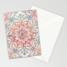 Autumn Spice Mandala in Coral, Cream and Rose Stationery Cards