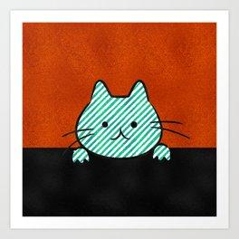 Cute Teal Striped Cat Art Print