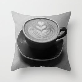 Cafe Heart - Black and White Throw Pillow