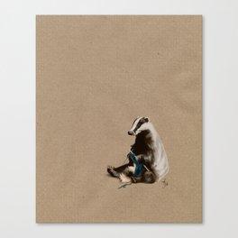 Badger Knitting a Scarf Canvas Print