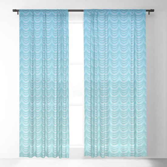 Aqua Ombre Waves Sheer Curtain By