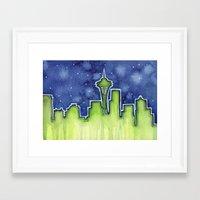 seattle Framed Art Prints featuring Seattle  by Olechka