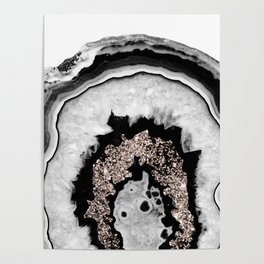 Gray Black White Agate with Rose Gold Glitter #1 #gem #decor #art #society6 Poster