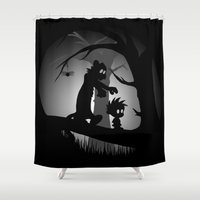 hobbes Shower Curtains featuring A Wrong Turn by Perdita