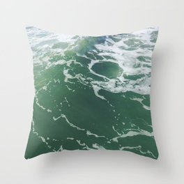 Sea Foam Green Ocean Wave Photograph Throw Pillow