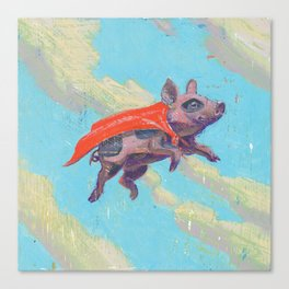 flying pig - by phil art guy Canvas Print