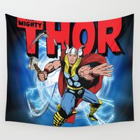 thor Wall Tapestries featuring The Mighty Thor! by WaXaVeJu