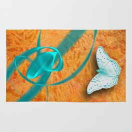 blue butterflies in abstract landscape Rug