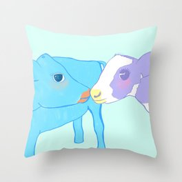 Cow kissing on a pastel background Throw Pillow