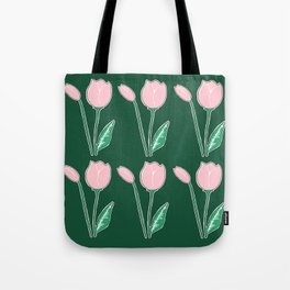 Tulips Pattern in Light Pink and Dark Green Tote Bag