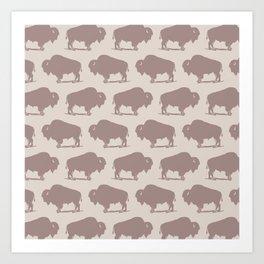 Buffalo Bison Pattern 261 Beige Art Print