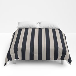 Vertical Stripes Black & Warm Gray Comforters
