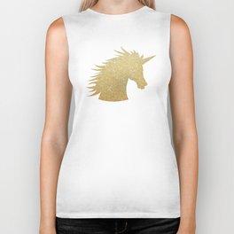 Gold Glitter Unicorn Biker Tank