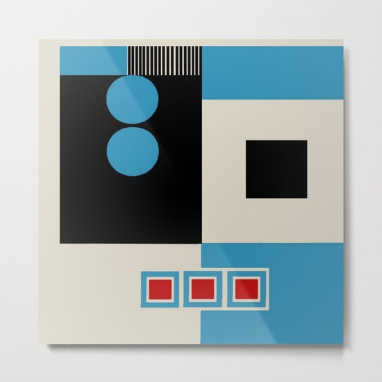 Abstract in Blue, Black, Red and Beige. See Companion Piece Metal Print