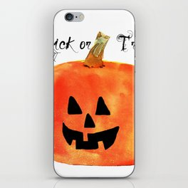 Trick or Treat Jack-O-Lantern, Halloween Pumpkin iPhone Skin