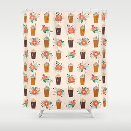 Coffee floral bouquet coffee lovers java bean cute pattern print for kitchen Shower Curtain