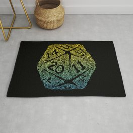 d20 dice pattern - yellow and blue gradient over black - icosahedron Rug