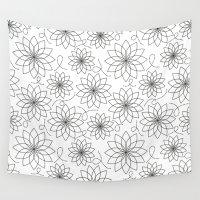 arya stark Wall Tapestries featuring Stark Flowers by SonyaDeHart