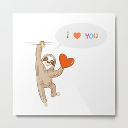 Vector card by Valentine's Day with cartoon  sloth  speaking about love. Metal Print