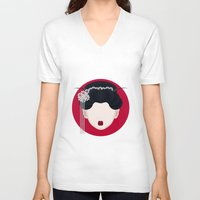 geisha V-neck T-shirts featuring Geisha by Simoon