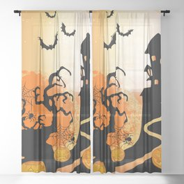 Halloween City Vibes Sheer Curtain